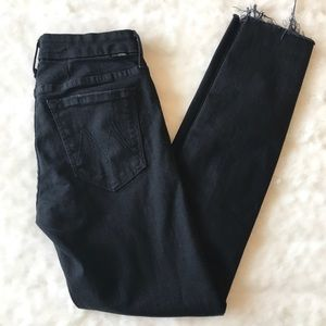 Mother Distressed Black Jeans